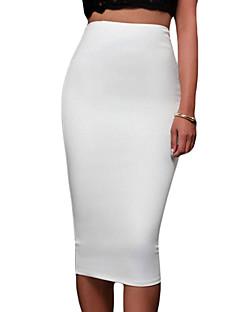 Polyester / Spandex-Rekbaar-Eenvoudig-Tot de knie-Vrouwen-Rokken
