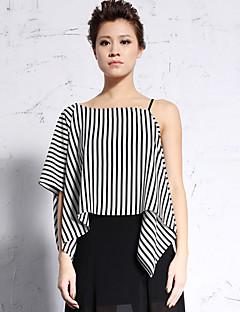 új mielőtt női alkalmi / napi egyszerű nyári blousestriped aszimmetrikus hosszúságú hüvely