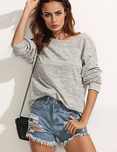 Women's Going out / Sports Sexy / Street chic Regular HoodiesSolid Gray Round Neck Long Sleeve Cotton Winter Medium