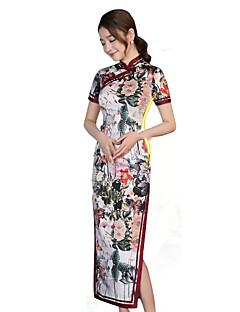 Klasszikus és hagyományos Lolita Szoknya Rövid ujjú Hosszú hossz Piros Lolita ruha Selyem