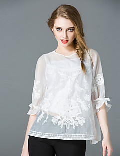 JOJO HANS  Women's Going out Sophisticated SpringEmbroidered Round Neck Length Sleeve