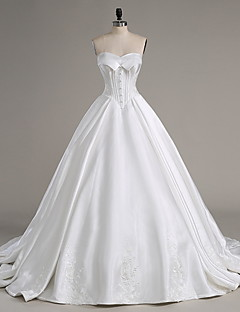 A-line Wedding Dress Chapel Train Strapless Satin with Beading / Button / Ruffle / Appliques
