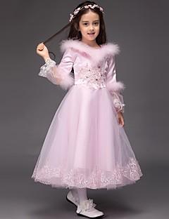 נשף באורך הקרסול שמלה לנערת הפרחים  - סאטן / טול שרוול ארוך עם תכשיטים עם ריקמה / קפלים