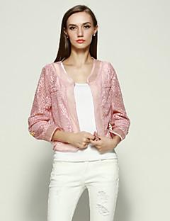 Damen Solide Einfach Lässig/Alltäglich Jacke,V-Ausschnitt Frühling Langarm Rosa / Weiß Polyester Mittel