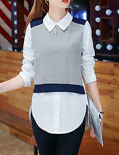 Women's Casual/Daily Street chic Fall / Winter Shirt,Color Block Shirt Collar Long Sleeve Gray Cotton / Rayon Thin