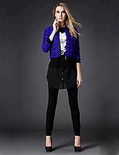 Damen Druck Einfach Lässig/Alltäglich Set Hose,V-Ausschnitt Herbst Langarm Schwarz Polyester Mittel
