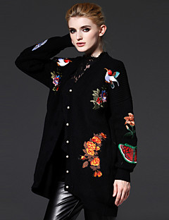 FRMZ  Women's Going out Sophisticated Long CardiganEmbroidered Black V Neck Long Sleeve Fall Medium Inelastic