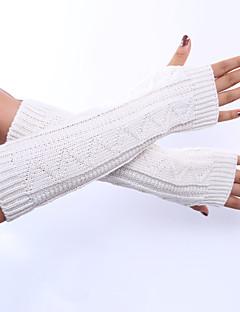зимние теплые перчатки женские длинные трикотажные пальцев рук манжеты