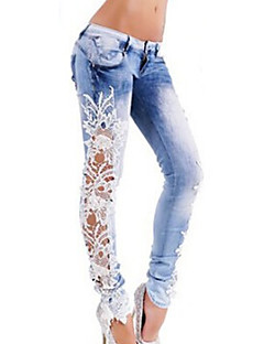 Women's Color Block Blue Jeans PantsStreet chic
