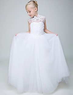 Ball Gown Ankle-length Flower Girl Dress - Tulle Sleeveless High Neck with Appliques / Beading