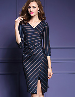 Women's Going out Vintage Sheath DressStriped V Neck Above Knee  Sleeve