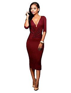 Women's Casual/Daily Sexy / Simple Ruched Backless Slim Club Bodycon Dress,Solid Deep V Midi ½ Length Sleeve