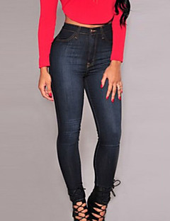 Mulheres Calças Vintage Jeans Poliéster Micro-Elástica Mulheres