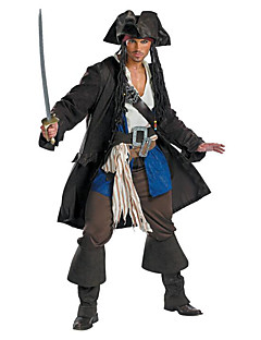 Cosplay Costumes / Party Costume Pirate Festival/Holiday Halloween Costumes Black Solid Top / Pants / More Accessories / Hat Halloween
