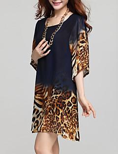 Dámské Velké velikosti Šaty Leopard Kulatý Nad kolena Šifon