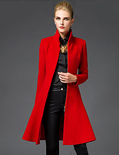 Women's Going out Sophisticated Coat,Solid Stand Long Sleeve Winter Red / Black Wool Medium