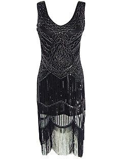 Women's Formal / Party/Cocktail Vintage 1920s Sheath Dress,Paisley U Neck Midi Sleeveless Black Polyester All Seasons