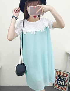 Maternity Casual/Daily Cute A Line / Lace Dress,Color Block U Neck Above Knee Short Sleeve Blue / Orange Cotton / Polyester / Others