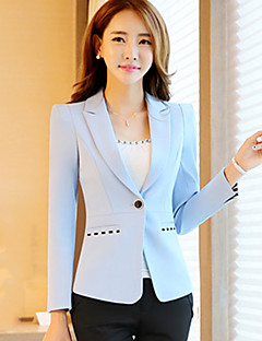 Women's Going out / Formal / Work Cute Spring / Fall BlazerSolid / Striped Notch Lapel Long Sleeve  Polyester Medium