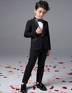 Boy's Party/Cocktail Solid Suit & BlazerCotton All Seasons Black  set