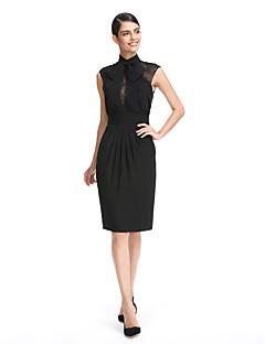TS Couture Soirée Cocktail Promo Robe - Petite Robe Noire Fourreau / Colonne Col Haut Mi-long Mousseline de soie avecNoeud(s) Dentelle