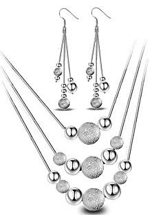 Жен. Набор украшений Серьги-слезки Ожерелья с подвесками Базовый дизайн Мода Простой стиль бижутерия Стерлинговое серебро Шарообразные