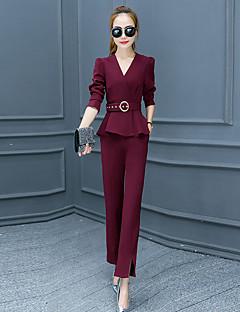 Damen Solide Street Schick Ausgehen Set Hose,V-Ausschnitt Herbst Langarm Rosa / Rot / Schwarz / Grau Polyester Mittel