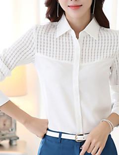 Langærmet Krave Medium Dame Hvid Ensfarvet Forår Arbejde Plusstørrelser Skjorte,Polyester
