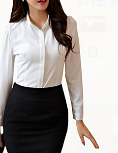 Women's Solid Plus Size Large Size OL Style Slim Work Shirt,Shirt Collar Long Sleeve