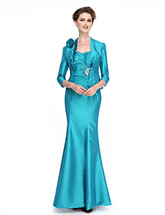 Mermaid / Trumpet Sweetheart Ankle Length Taffeta Mother of the Bride Dress withBeading Crystal Detailing Flower(s) Ruching Ruffles Criss