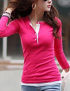 Mulheres Camiseta Casual Simples / Moda de Rua Verão,Sólido Vermelho / Verde / Roxo Algodão Gola Redonda Manga Curta Fina