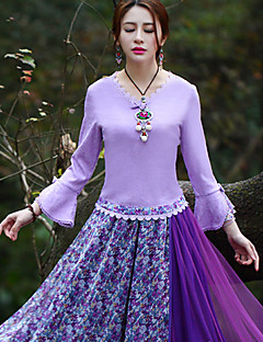 Our Story Going out Vintage Spring / Fall T-shirtSolid V Neck Long Sleeve Purple Polyester / Spandex Medium