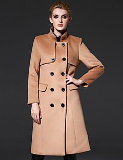frmz dámské jít ven na ulici elegantní coatsolid postavit dlouhý rukáv podzim / zima hnědá vlna / polyesterové médium