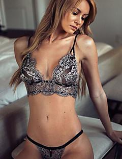 Kvinders Blondeundertøj / Jakkesæt Nattøj,SexyTynd Blonder Sort Damer