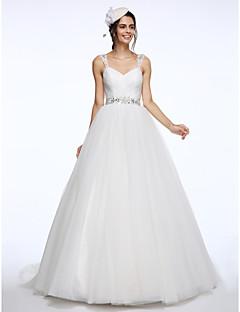 Lanting Bride® Balkjole Brudekjole Kapelslæb Stropper Tyl med Perler / Krydsdrapering / Bælte / bånd