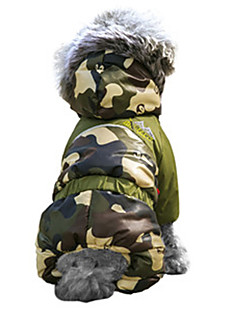 Cat / Dog Coat / Hoodie / Outfits Red / Orange / Green / Blue / Brown / Pink Dog Clothes Winter Camouflage Fashion / Keep Warm / Windproof