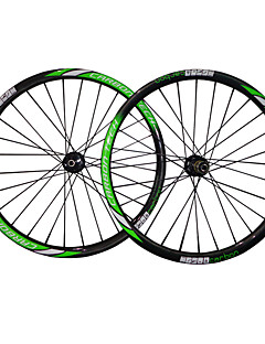 26er-26mm Mtb Bike Wheelsets  Green White Color Finish Carbon Fiber Cyclinlg Wheels   with 711-712 Hub