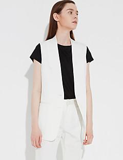 Uden ærmer Dyb V Solid Dame Hvid Brun Ensfarvet Sommer Simpel Arbejde Blazer,Rayon Polyester Spandex
