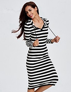 Women's Going out / Casual Active Shift Dress,Striped Hooded Midi Long Sleeve Black Cotton Spring / Fall BN0742