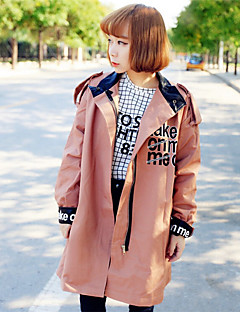 Women's Going out Cute Trench CoatSolid Shirt Collar Long Sleeve Fall Pink / Green Cotton Medium