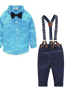 Boy's Casual/Daily Plaid Clothing SetCotton Spring / Fall Blue / Green / Red