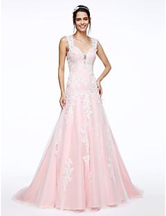 Lanting Bride® A-라인 웨딩 드레스 코트 트레인 스트랩 레이스 / 새틴 와 아플리케 / 비즈