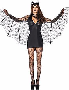 Fantasias Anjo e Diabo Dia Das Bruxas Preto Cor Única Terylene Vestido / Mais Acessórios