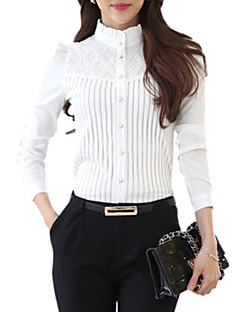 Women's Stand Collar Lace Patchwork Stripe Puff Sleeve Wild Slim Shirt