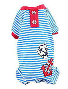 Dog Shirt / T-Shirt / Clothes/Jumpsuit Red / Black / Blue Dog Clothes Spring/Fall Stripe Fashion