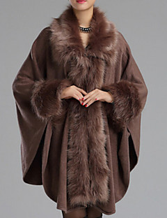 Women Faux Fur Shawl & Wrap , Without Lining