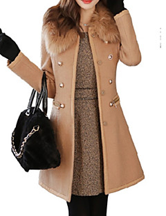 Damen Kleid-Ausgehen Street Schick Langarm Wolle Winter Mittel