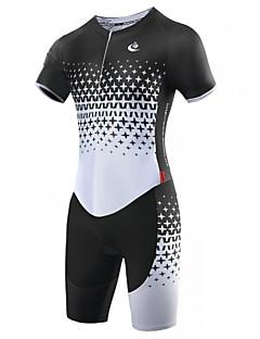 MALCIKLO® Camisa com Shorts para Ciclismo Homens Manga Curta MotoRespirável / Secagem Rápida / Zíper Frontal / Vestível / Alta