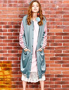 liangsanshi Frauen Casual / Tages Straße schicke Winterjacken, Farbe Block lange Ärmel grün Polyester Medium stehen