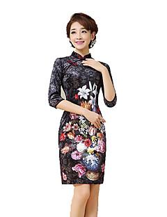 Szoknya Klasszikus és hagyományos Lolita Cosplay Lolita ruhák Fekete Régies (Vintage) 3/4-es ujj Rövid hosszú Mert Selyem
